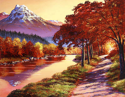 Painting - The River Runs Gold by David Lloyd Glover
