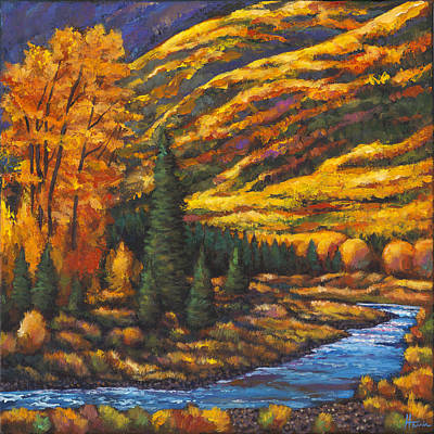 Aspen Tree Painting - The River Runs by Johnathan Harris