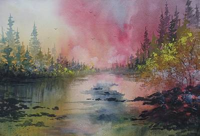 Charting Painting - The River Shallows, Original Watercolor by David K Myers