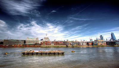Photograph - The River Thames And Barge And St Paul's Cathedral by John Williams