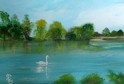 Painting - The River Thames At Shepperton by Carole Robins