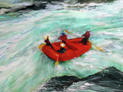 River Rafting Painting - The River Wild by Mike Paget
