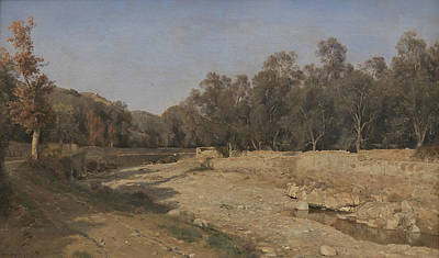 Painting - The Riverbed At Bordighera by Janus la Cour
