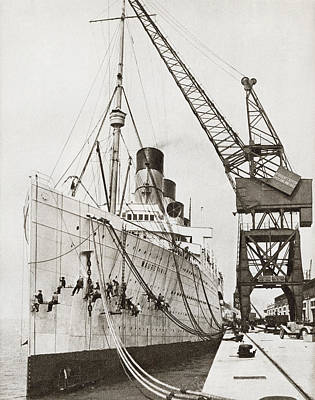 Dock Drawing - The Rms Mauretania Docked And by Vintage Design Pics