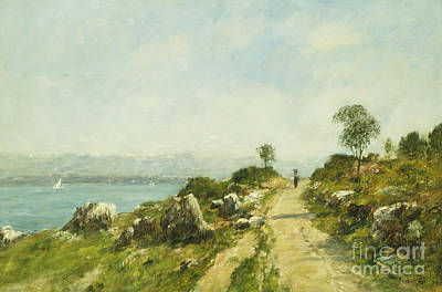 Nineteenth Century Painting - The Road, Antibes by Eugene Louis Boudin