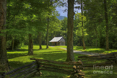 Beaches And Waves Rights Managed Images - The Road Home Cades Cove Cabin  Royalty-Free Image by Reid Callaway