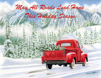 Old Farm Drawing - The Road Home- Holiday Cards by Sarah Batalka