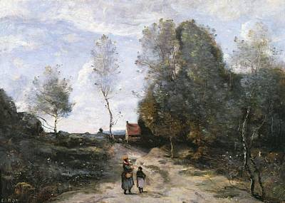 Couple Painting - The Road by Jean Baptiste Camille Corot