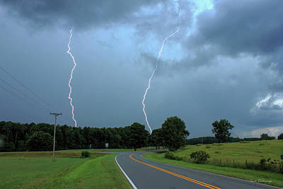 Lightning Bolt Photograph - The Road Less Traveled Daytime Lightning Greensboro Ga by Reid Callaway