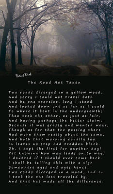 Decision Digital Art - The Road Not Taken Poem By Robert Frost by Daniel Hagerman