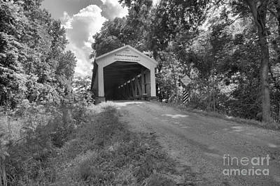 Photograph - The Road To Conley's Ford Covered Bridge Black And White by Adam Jewell