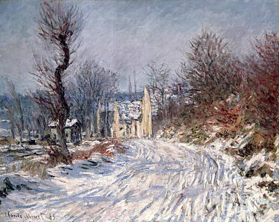 Winter Scene Painting - The Road To Giverny In Winter by Claude Monet