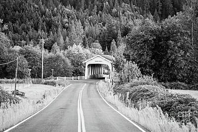 Photograph - The Road To Grave Creek Covered Bridge - Bw by Scott Pellegrin