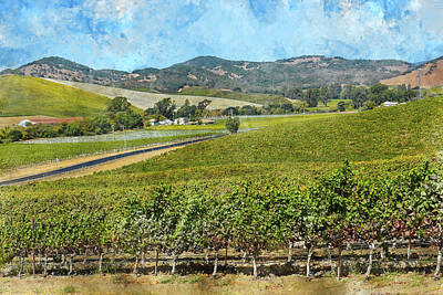 Soil Digital Art - The Road To Napa Valley Vineyard by Brandon Bourdages