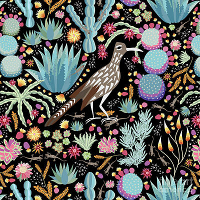 Pattern Painting - The Roadrunner And The Lizard by Darlene Seale