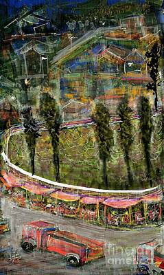 Digital Art - The Roadside Food Court At The Entrance Of The Hilltown Town by Subrata Bose