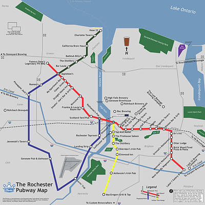 Finger Lakes Digital Art - The Rochester Pubway Map by Unquestionable Taste