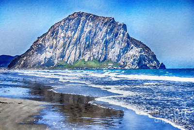 Painting - The Rock At Morro Bay Large Canvas Art, Canvas Print, Large Art, Large Wall Decor, Home Decor, Photo by David Millenheft