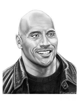 Famous People Drawing - The Rock-dwayne Johnson by Murphy Elliott