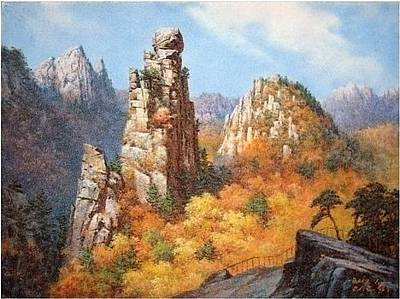 North Korea Painting - The Rock In Longevity Of Mt. Cheerlboh  by Hohyeok Lee