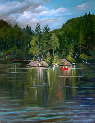 Painting - The Rock On Mirror In Woodstock New Hampshire by Nancy Griswold