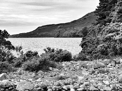 Photograph - The Rocky Shores Of Wastwater In Monochrome by Joan-Violet Stretch