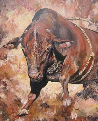 The Rodeo Bull Art Print by Leonie Bell