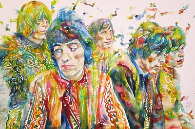 Art Print featuring the painting The Rolling Stones - Watercolor Portrait by Fabrizio Cassetta