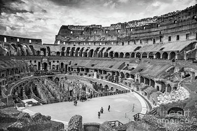 Photograph - The Roman Colloseum Bw by Rene Triay Photography