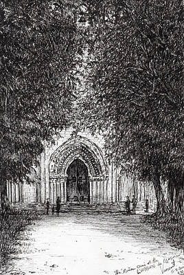 Entrance Door Drawing - The Roman Door by Vincent Alexander Booth