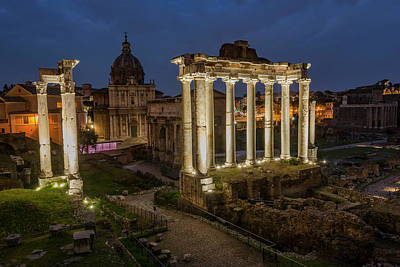 Photograph - The Roman Forum At Night by Gary Lengyel