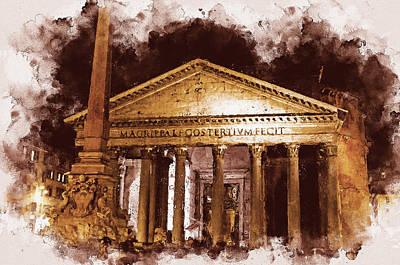 Painting - The Roman Pantheon - 01 by Andrea Mazzocchetti