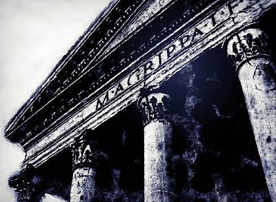 Drawing - The Roman Pantheon - 02 by Andrea Mazzocchetti
