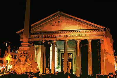 Painting - The Roman Pantheon At Night by Andrea Mazzocchetti