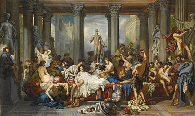 The Romans During The Decadence After Thomas Couture Art Print