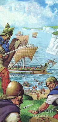 Viking Ship Painting - The Romans Invading Britain  by Pat Nicolle