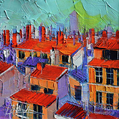 Rooftops Painting - The Rooftops by Mona Edulesco