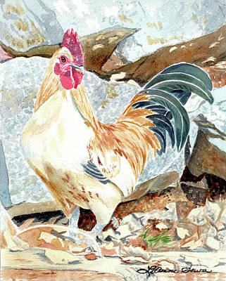 Painting - The Rooster Crows, Rooster Painting, Rooster Prints, Chicken Paintings by LeAnne Sowa