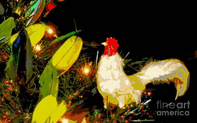 Photograph - The Rooster In A Parrot Feather Christmas Tree by Michael Hoard