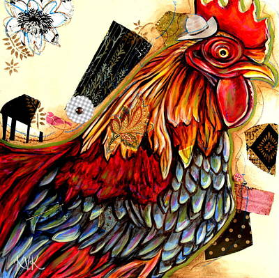 Mixed Media - The Rooster by Katia Von Kral