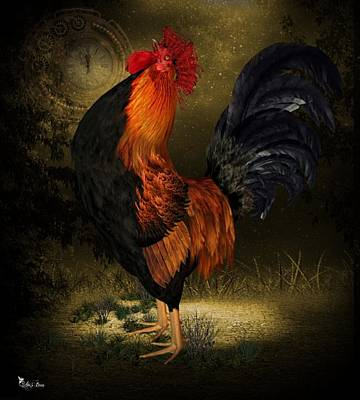 Digital Art - The Rooster Says Time To Wake Up by Ali Oppy
