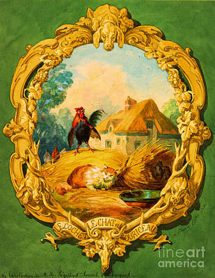 Painting - The Rooster The Cat And The Young Mice by Unknown