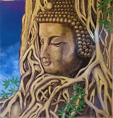 Large Buddha Painting - The Roots Of Buddha by Patrick Bornemann
