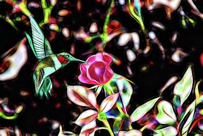 Painting - The Rose And The Hummingbird by Ericamaxine Price