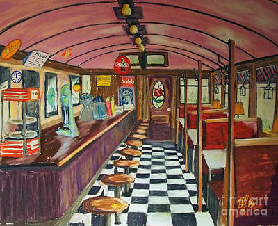 Painting - The Rose Diner by Francois Lamothe