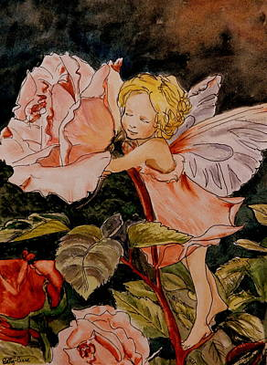 Fairy Hearts Pink Flower Painting - The Rose Fairy After Cicely Mary Barker by Betty-Anne McDonald