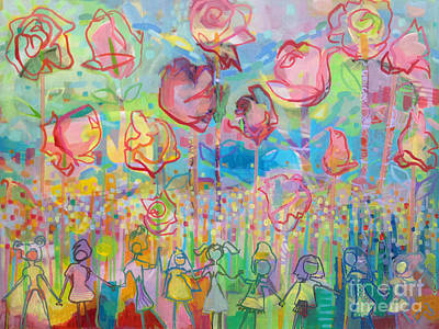 Valentines Day Painting - The Rose Garden, Love Wins by Kimberly Santini