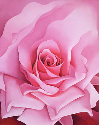 Pink Flower Painting - The Rose by Myung-Bo Sim