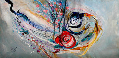 Oriental Style Painting - The Rose Of Chagall by Elena Kotliarker