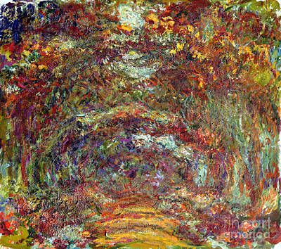 Tree-lined Painting - The Rose Path Giverny by Claude Monet